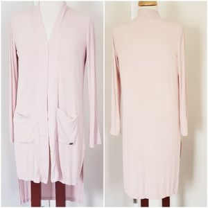 DKNY BLUSH RIBBED HIGH LOW CARDIGAN